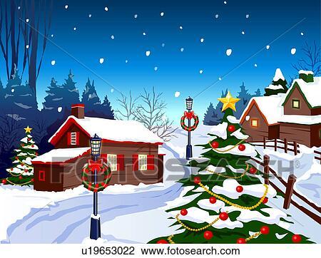 Clipart d coration no l petites maisons sur neige a couvert paysage u19653022 - Petites images de noel ...