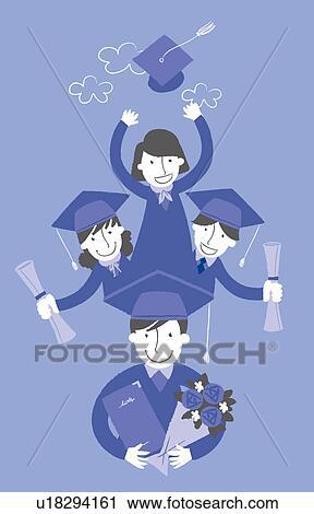 Clipart Of Portrait University Student Making Graduation