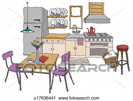 clipart kueche innere u17636441 suche clip art illustration wandbilder zeichnungen und. Black Bedroom Furniture Sets. Home Design Ideas