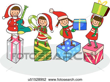 Drawings Of Christmas Presents.Four Girls With Christmas Presents Drawing