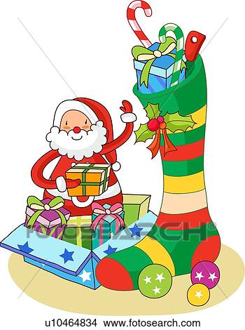 Drawings Of Santa Claus Putting Christmas Presents In A