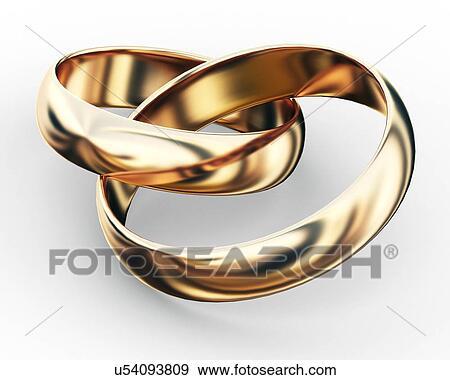 Stock Illustration Of Entwined Wedding Rings Artwork U54093809