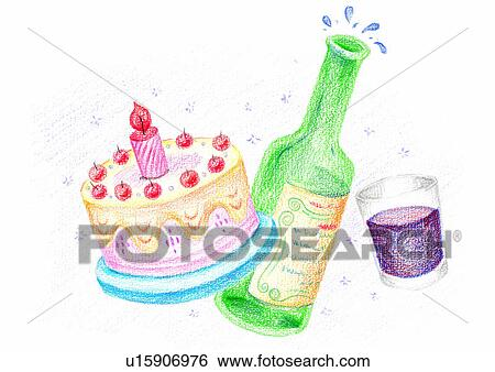 Outstanding Painting Watercolor Birthday Cake Wine Alcoholic Stock Funny Birthday Cards Online Elaedamsfinfo