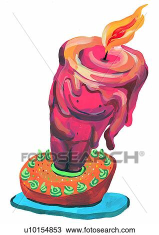 Drawing Of Painting Watercolor Birthday Candle Fire U10154853