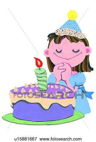 Stock Illustration Of Smile Birthday Candle Painting