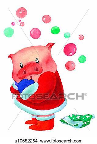 Christmas Pig.Painting Watercolor Christmas Pig Stock Illustration