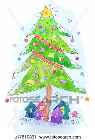 clipart weihnachten gem lde aquarell weihnachtsbaum. Black Bedroom Furniture Sets. Home Design Ideas
