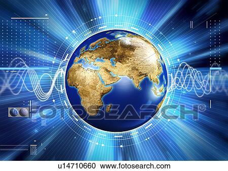 Wereldbol Met Licht : Stock illustraties licht strepen ongeveer een globe opgelegde