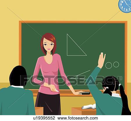 clip art of front view of a teacher teaching in a class u19395552 rh fotosearch com english teacher teaching clipart teacher teach clipart