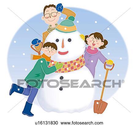 父と子供 作成 A 雪だるま 一緒に イラスト クリップアート切り