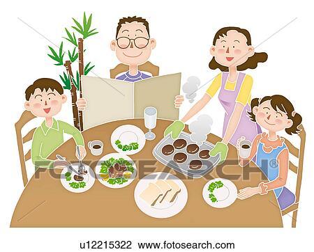 A 家族 において 食事 イラスト スケッチ U12215322