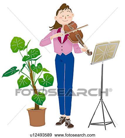 A 若い女性 バイオリンを演奏すること イラスト イラスト U12493589