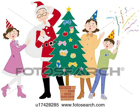 Christmas Illustration.A Family Celebrating Christmas Day Illustration Standartinė Iliustracija