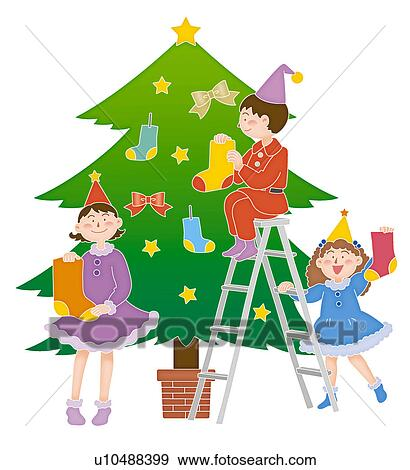 Christmas Illustration.Children Decorating Christmas Tree Illustration Standartinė Iliustracija