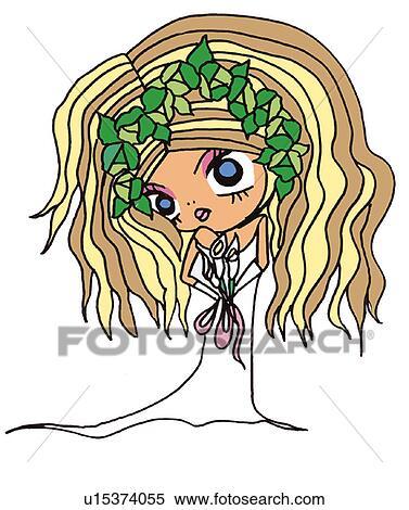 A 女の子 中に 結婚式 服 イラスト 漫画 肖像画 イラスト U Fotosearch