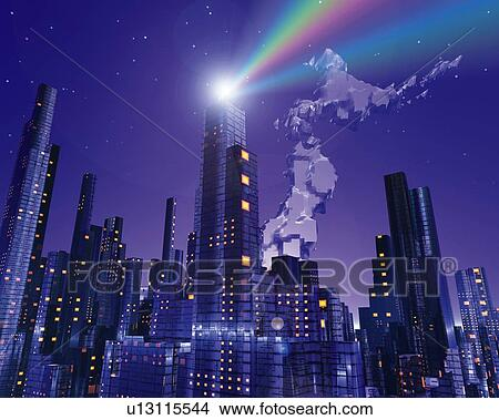 Drawings of Crystal map of Japan and skyscrapers in the night 9ba279f09