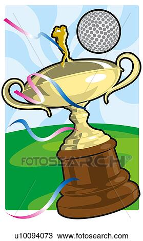 Golf Ball Over A Trophy Drawing U10094073 Fotosearch