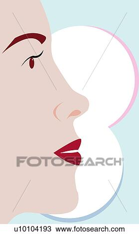 Perfil Lateral De Um Jovem Mulher Rosto Desenho U10104193
