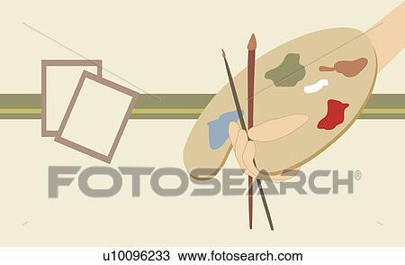 Personne Possession Main A Peindre Palette Et Peinture Brosse Dessin