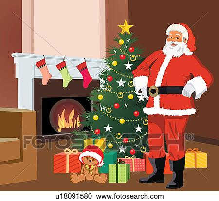 santa claus in front of christmas tree with gifts