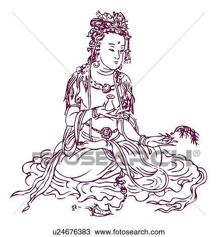 guan yin, aka, kannon, bodhisattva, godin van genade, in, boeddhisme