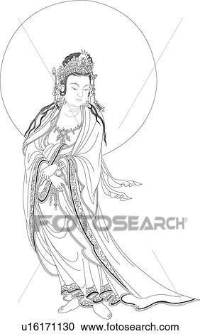 Samantabhadra 主 の 真実 中に 仏教 クリップアート切り張り