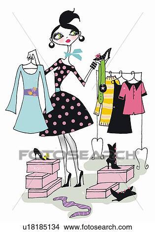 女 選択 衣服 そして 靴 イラスト U18185134 Fotosearch