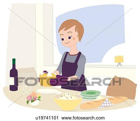 Femme Qui Est Cuisine Illustrative Technique Clipart U19741101 Fotosearch