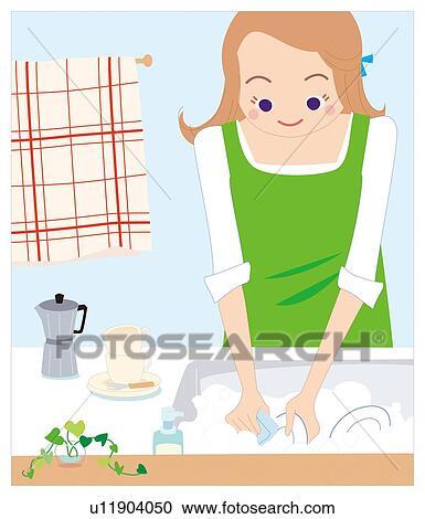 banque d 39 illustrations femme qui lave les vaisselle. Black Bedroom Furniture Sets. Home Design Ideas