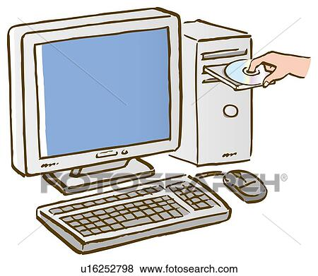 stock illustration of a person putting a cd into computer close up