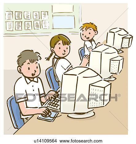 Dibujos tres ni os sentado y usar ordenador en la - Ninos en clase dibujo ...