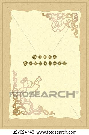 Stock Illustration Of Painting Of Christmas Card With Angel Ornament
