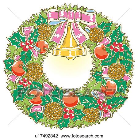 Christmas Wreath Drawing.Painting Of Christmas Wreath Illustration Drawing