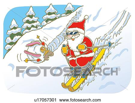 Image Pere Noel En Ski.Peinture De Pere Noel Ski Et Renne Rouler Bas Illustration Clipart
