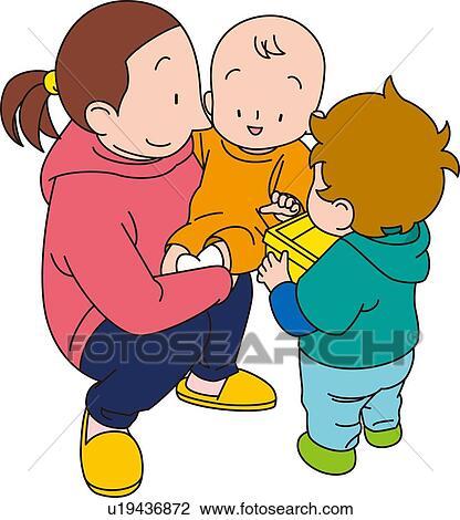 clip art of babysitter illustrative technique u19436872 search rh fotosearch com babysitter clip art free baby sitting clipart