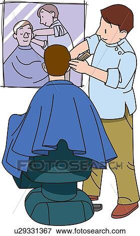 Stock Illustration of Barber, Illustrative Technique ...