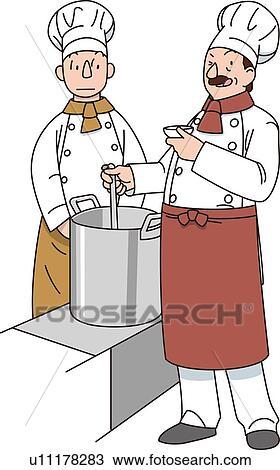 cuisinier illustrative technique - Dessin Cuisinier