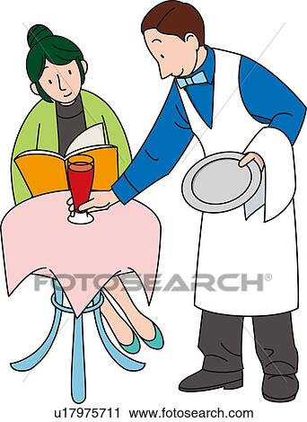 clipart of waiter illustrative technique u17975711 search clip rh fotosearch com waiter clipart water clip art