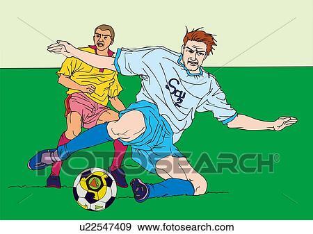 絵 の 2 フットボール選手 ゲームを すること イラスト イラスト