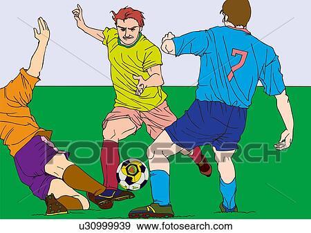絵 の 3 フットボール選手 ゲームを すること イラスト イラスト