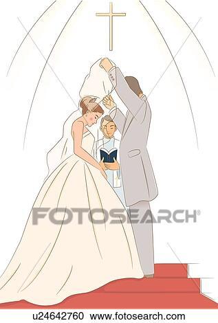 花婿 持ち上がること ベール から 花嫁 において 祭壇 クリップ