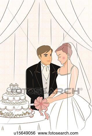 Stock Illustration Brautpaar Schneiden Hochzeit Kuchen