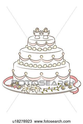 dessin gteau mariage ange form dcoration vue frontale - Dessin Sur Gateau