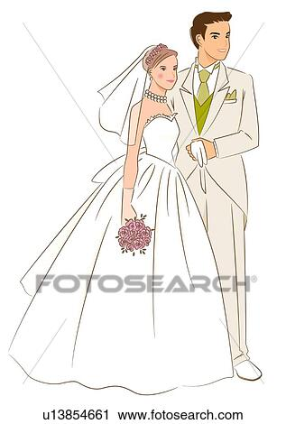 clipart nuptial couple sourire et debout ensemble. Black Bedroom Furniture Sets. Home Design Ideas