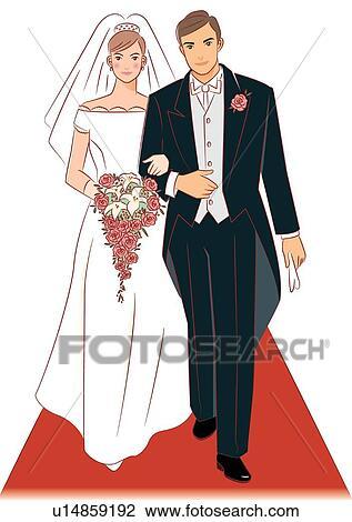 clipart nuptial marche couples ensemble sur moquette rouge mari e tenue mariage. Black Bedroom Furniture Sets. Home Design Ideas
