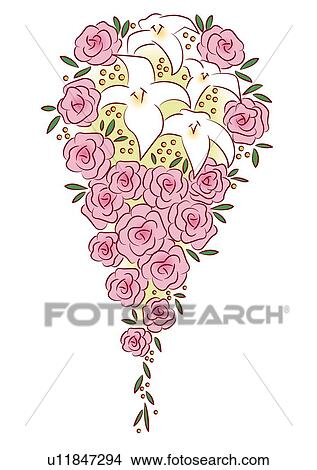 Wedding Cascade Bouquet Made Of Pink Roses Front View