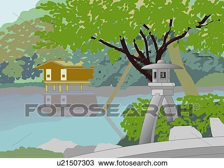 Drawing Of Japanese Garden High Angle View Japan U21507303