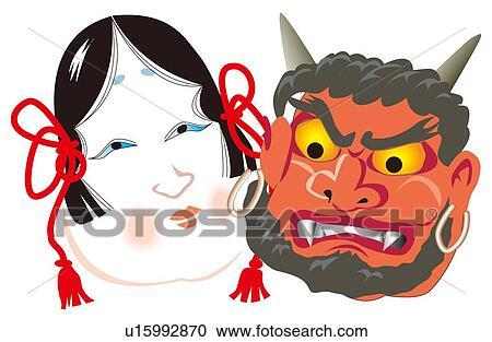 Stock Illustrations Of Oni Devil And Okame Mask Setsubun Japan