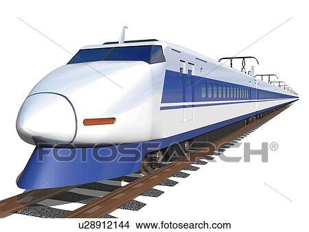 イメージ の A 新幹線 上に A ブラウン 柵 サイド光景 イラスト