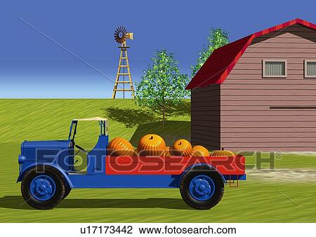Clip Art Of Image A Country House And Truck Loaded With
